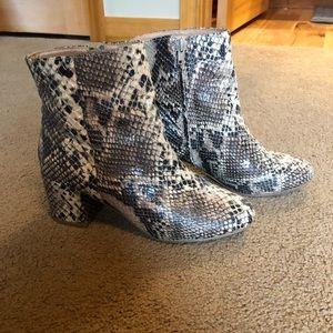 UO snakeskin booties